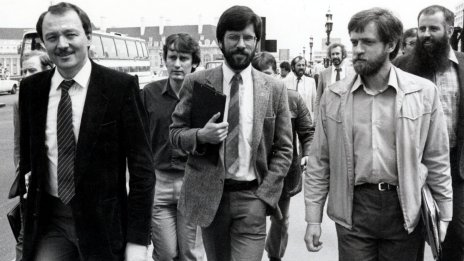 Mandatory Credit: Photo by Paul Fievez/Daily Mail/REX/Shutterstock (1210280a) Ken Livingstone, Gerry Adams and Piers Corbyn walking across Westminster Bridge Gerry Adams visit to London, Britain - 26 July 1983 Gerry Adams, President of Sinn Fein (centre with beard). His first stop was County Hall for talks with Ken Livingstone (left) and Piers Corbyn (r).